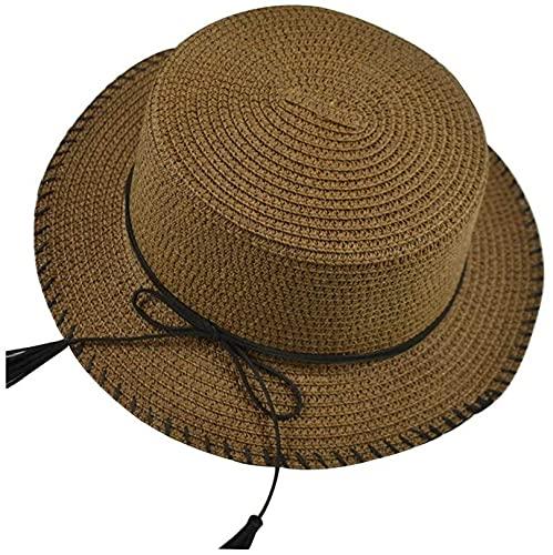 YXF Sombrero de Sol Salvaje Informal, Sombrero de sombrilla Plegable con Parte Superior Plana para Exteriores, Sombrero de Dama, Sombrero de Paja con protección Solar Plana, café, m (56-58cm)