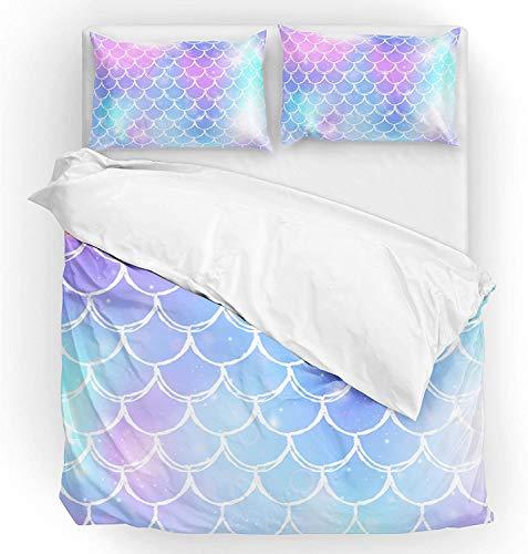 Múltiple Conjunto de tapa de edredón de ropa de cama Twin Tamaño de 2 piezas Conjunto 1 edredón de la colcha y 1 funda de almohada Sham Sirena Sirena a rayas Rainbow Galaxy para niño niño niña mujeres