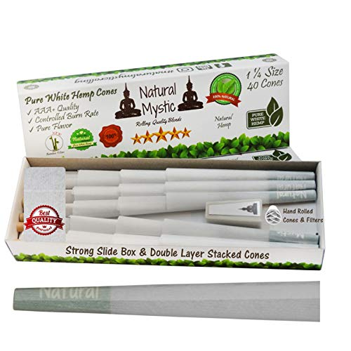 Pre Rolled Cones 1 1/4 Size - 40 Pack Natural Mystic White Hemp Pre-Rolled Classic European Rolling Paper with Pure Raw Organic Fiber Extract Pure Hemp Cones with Tips W Zig Shaped Tip 84mm Prerolled