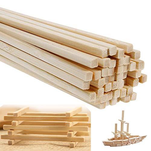 YUNSTK Varillas de bambú para manualidades, 50 unidades de listones de madera de 4 x 4 mm, bastón de bambú de alta calidad, varillas extralargas para manualidades (30 cm de longitud)