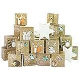 Papierdrachen DIY Adventskalender Kisten Set – Waldtiere - 24 Bunte Kisten zum Aufstellen und zum...