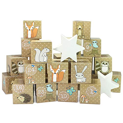Papierdrachen DIY Adventskalender Kisten Set – Waldtiere - 24 Bunte Kisten zum Aufstellen und zum selber Befüllen - 24 Bunte Boxen I Schachteln