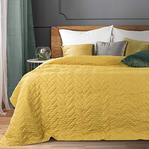 Eurofirany Gesteppter Bettüberwurf Tagesdecke Stella Einfarbige Überdecke Steppung Geometrisches Muster Ganzjährig Dunkelgrün Creme Gelb Stahl (Gelb, 220 x 240 cm)