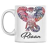 N\A Taza de Elefante Personal con Nombre Riaan, Taza de café de cerámica Blanca Impresa en Ambos Lados, cumpleaños para él, Ella, niño, niña, Esposo, Esposa, Hombres y Mujeres