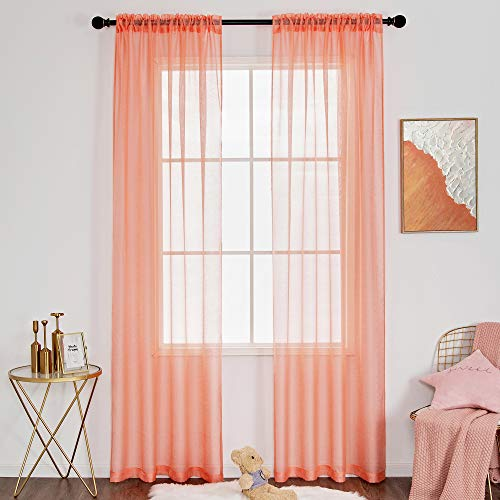 DUALIFE Sheer Coral Curtains for Bedroom 84 Inch Length Window Treatment Rod Pocket Curtain Panels Textured Solid Voile Sheer Curtain Drapes for Girls Living Room 2 Panels 52 x 84 Inch