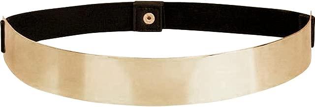 Women Elastic Mirror Metal Waist Belt Metallic Waistband