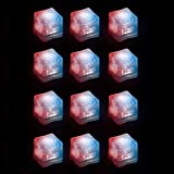 (12 Pack) Light-Up LED Ice Cubes with Changing Lights and On/Off Switch (Patriotic Theme)