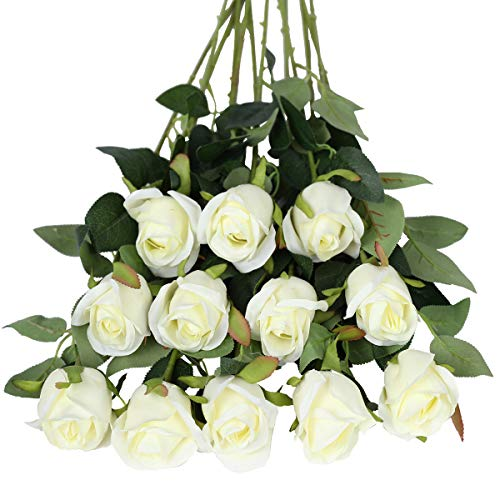 Tifuly Rosen Künstliche Blumen 12 Pcs Seide Künstliche Rose Blumen Gefälschte Blumen für Brautstrauss Haus Hochzeits Party Deko DIY(Weiß)
