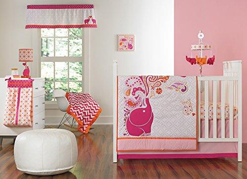 Happy Chic Baby Jonathan Adler Party Elephant 4 Piece Crib Bedding Set, Pink/Orange/White