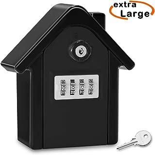 HUANLANG Key Lock Box Outdoor Extra Large Key Safe Box 4-Digit Combination Wall Mounted Key Storage Lock Box for House (Black)