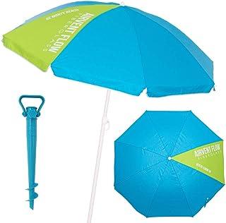 LOLAhome Sombrilla Playa con Soporte antiviento Azul de Acer