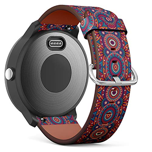 Replacement Leather Strap Printing Wristbands Compatible with Garmin Vivoactive 3 / Vivoactive 3 Music/Vivomove - Abstract Vector Tribal Ethnic Background