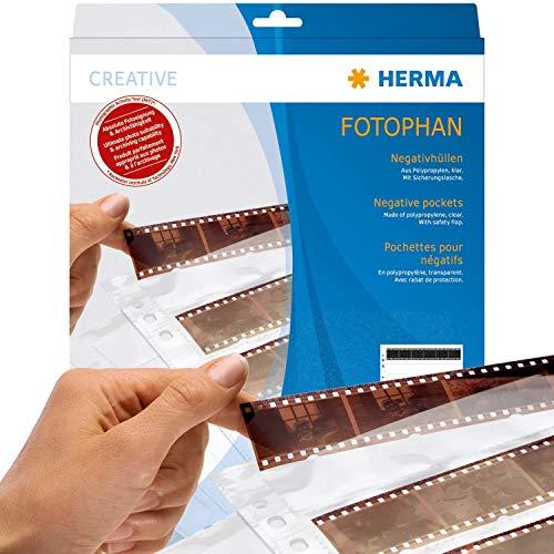 HERMA 7769 Fotophan Negativhüllen DIN A4 transparent (10 x 4 Streifen, 100 Hüllen, Folie) für Mittelformat-Negative im Format 35 mm mit Sicherheitslasche & Eurolochung