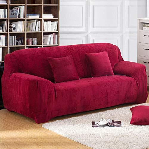 Funda de sofá elástica Gruesa de Felpa de Color sólido Funda Universal seccional Funda de sofá elástica de 1/2/3/4 plazas para Sala de Estar, Rojo Vino, 3 plazas 190,230cm