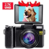 Digital Camera Vlogging Camera for Youtube 2.7K UHD 3.0 Inch 24MP Small Zoom Compact Camera with 180 Degree...