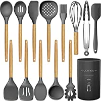 14 Pcs Silicone Cooking Utensils Kitchen Utensil Set - 446°F Heat Resistant,Turner Tongs,Spatula,Spoon,Brush,Whisk....