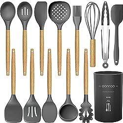 cheap 14-part silicone kitchen utensils. Cookware set – 446 ° F heat resistant, turner…