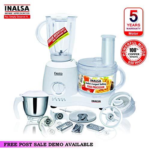 Inalsa Food Processor Fiesta 650-Watt with Break Resistant Processing Bowl, Blender, Dry Grinding...