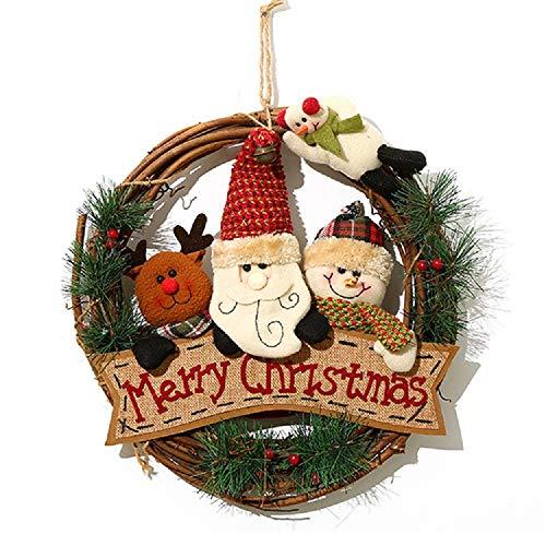 XONOR Guirnalda de Navidad para la Puerta Delantera, guirnaldas de la Puerta de 35 cm Decoración del Coche de Pared de suspensión de Puerta de Navidad en casa (Reindeer Snowman Santa Claus)