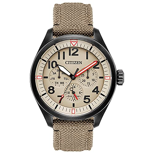 Citizen Eco-Drive Garrison Quartz Mens Watch, Stainless Steel with Nylon strap, Field watch, Khaki (Model: BU2055-08X)