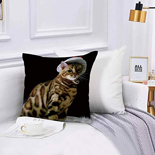 Funda de algodón 45 x 45 cm Gato Sexy Animal con Estampado de Leopardo con Sombrero de Pescador Medio Sentado sobre Sofá Throw Cojín Almohada Caso de la Cubierta para Sala de Estar 45x45cm