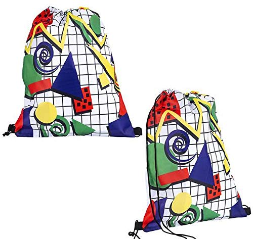 Fantastic Deal! DollarItemDirect 16 x 13 inches Retro 80S Print Drawstring Backpack, Case of 144