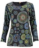 GURU SHOP Camiseta de manga larga bordada Hippie Chic Mandala para mujer, algodón, jersey, manga larga y sudadera, alternativa ropa Negro Small/Medium