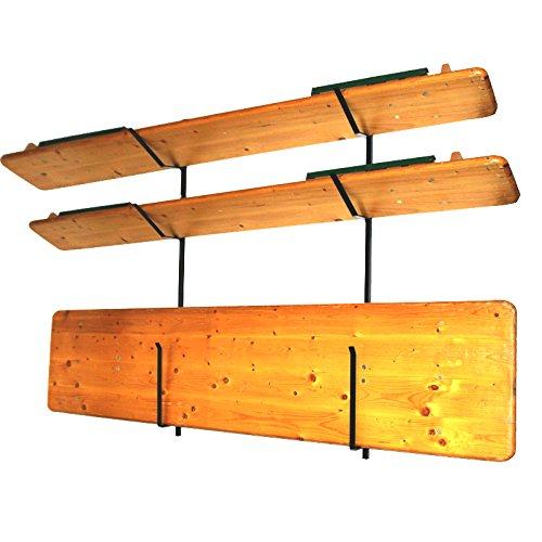 4U-Onlinehandel Wandhalterung für Biertischgarnitur-Set Biertischgarnitur, 143 cm Bierzeltgarnituren Tisch Bank Aufhängung Halterung Biertisch-Halter