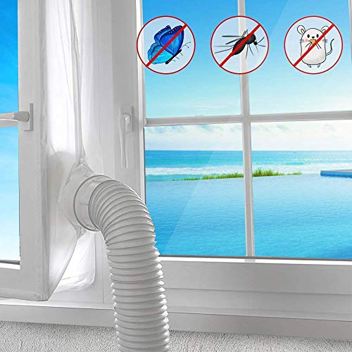 AGPTEK 300CM Aislamiento Ventanas para Aire Acondicionado Móvil y Secadora, Sello de Ventanas Impermeable, Anti UV, Anti-Mosquitos, con Dual Cremallera