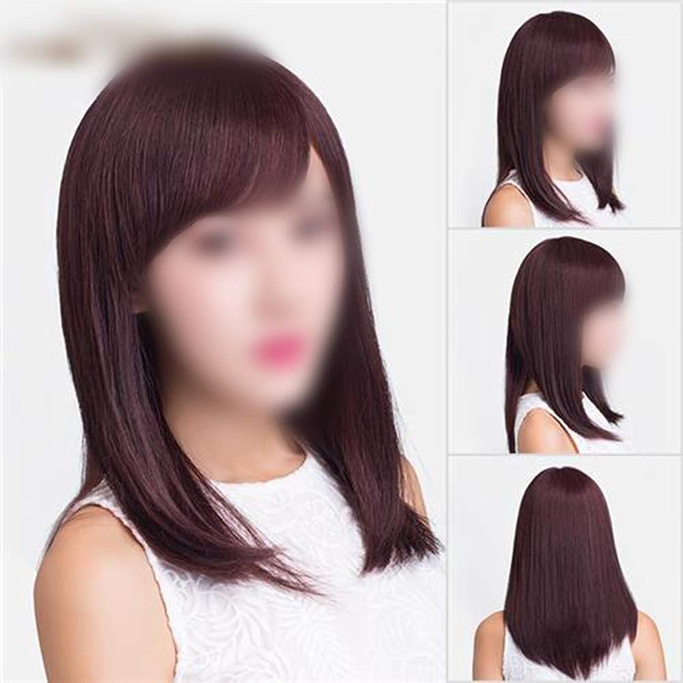 BOBIDYEE ダークブラウンロングストレートふわふわナチュラルロングリアルウィッグ女性のための合成髪レースかつらロールプレイングウィッグロングとショートの女性自然 (色 : Dark brown)