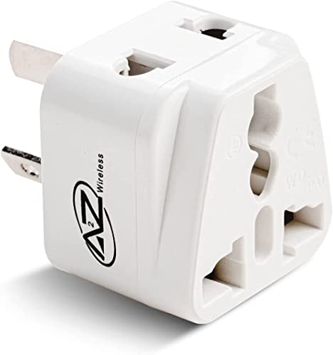 A2Z Travel Adapter with Type I Universal 3 Pin Safety Grounded Inputs Designed with Dual Ports for 3 Pin and 2 Pin Po...
