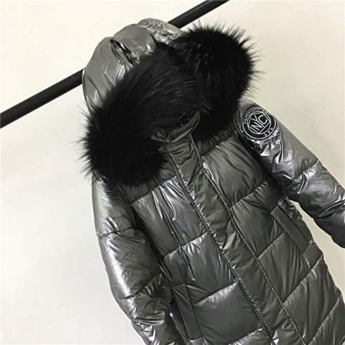 XIAOJIE Vrouwen katoenen jas Winter Jacket Vrouwen Warm Dikker Hooded Met Echte Lange Jas Glanzende Stof Stijlvolle Vrouw