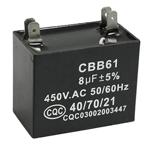 TOOGOO(R) CBB61 8uF 450V AC 50/60Hz Condensador de funcionamiento de motor del ventilador del acondicionador de aire