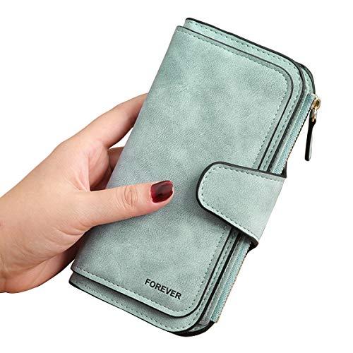 3 PCS Gran Capacidad Cartera de Cuero de Mujer, Bloqueo RFID Monedero de Piel para Señora, Larga Billetera de Mujer con Bolsillo de Cremallera y Correas de Muñeca (Verde)