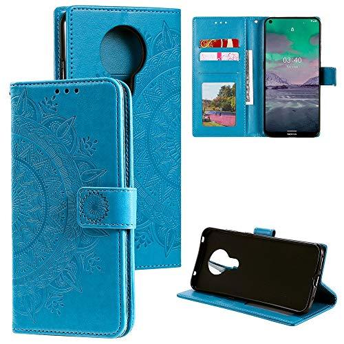 CoverKingz Handyhülle für Nokia 3.4 - Handytasche mit Kartenfach Nokia 3.4 Cover - Handy Hülle klappbar Motiv Mandala Blau