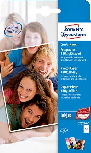 AVERY Zweckform C2522-60 Classic Inkjet Fotopapier (A6, einseitig beschichtet, glänzend, 180 g/m²) 60 Blatt