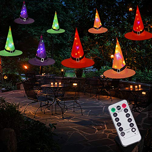 Halloween Decorations Witch Hat String Lights Battery Operated with Remote Control, Waterproof 8Pcs Hanging Lighted with 8 Lighting Modes for Indoor Outdoor, Garden, Party, Yard Decoration