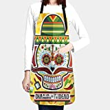 Cinlanck Cooking Apron,Dia De Los Muertos Day Of The Dead Skull Aprons For Women Kitchen Apron For Baking/Bbq Men Women Unisex Waterproof Belt Pocket
