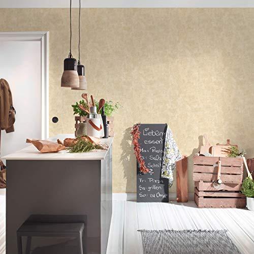 #patterned.wallpaper Wohnzimmer Steintapete, Vintage Beige. Moderne Vliestapete in 3D Zement Optik für Designer Küche + Schlafzimmer