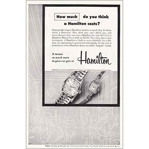 RelicPaper 1954 Hamilton Watch: Newton, Glamour, Hamilton Watch Company Print Ad