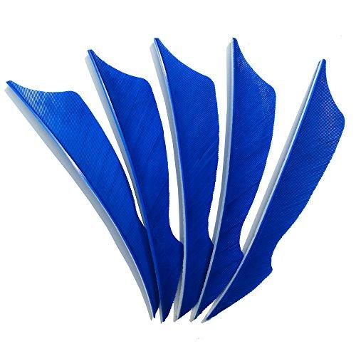 SHARROW 50pcs Bogenschießen Pfeilfedern 4 Zoll Naturfeder Befiederung Bogensport Zubehör (Blau)