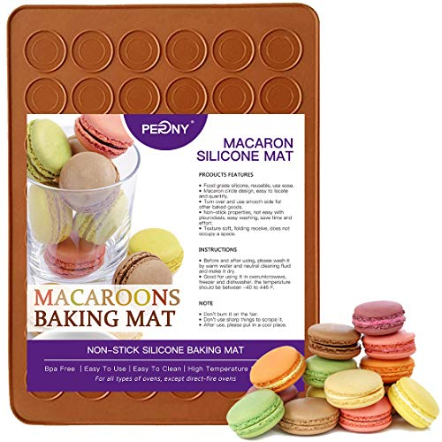 PERNY Macaron Mat, 48 Capacity Non Stick Macaron Silicone Mat for 1.5' Macarons Making
