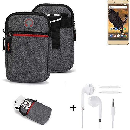 K-S-Trade® Gürtel-Tasche + Kopfhörer Für -Allview P8 Pro- Handy-Tasche Schutz-hülle Grau Zusatzfächer 1x