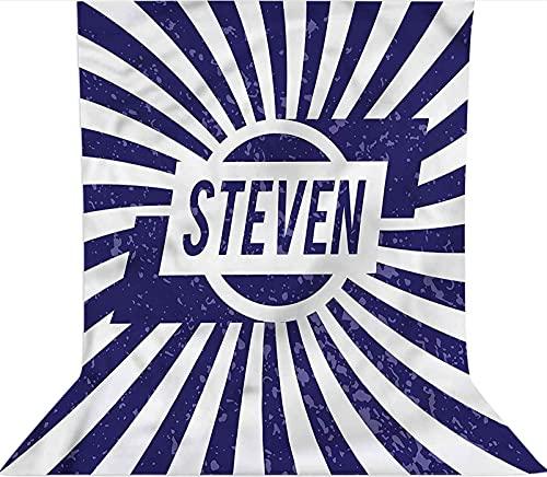 Fondo de fotografía de 1,8 x 2,7 m, nombre en tela de microfibra azul y blanco, telón de fondo de tela, con bolsillo para barra (solo telón de fondo) para fotografía fotográfica