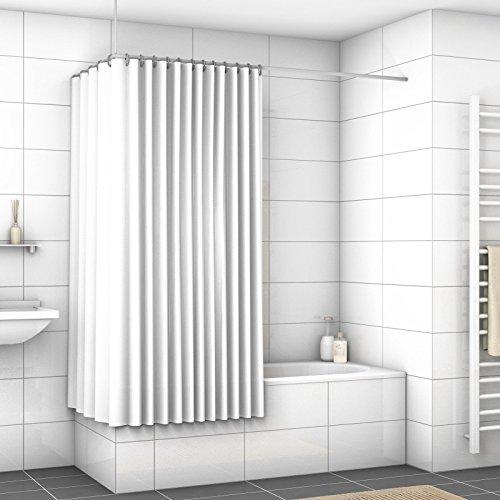 WIDORO Textil-Duschvorhang | alle Größen verfügbar | wasserdichter Stoff | Anti-Schimmel und Anti-Bakteriell | waschbar | Polyester | inkl. Ringe | 180 x 180 cm (BxH) Weiss mit verstärktem Saum