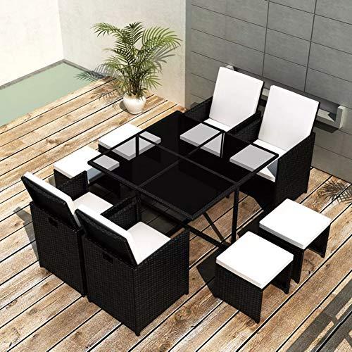 Conjunto de muebles de jardín de resina trenzada, ratán sintético resistente a las Intemperías y al agua, incluye 1 mesa, 4 sillas, 4 taburetes y 12 cojines