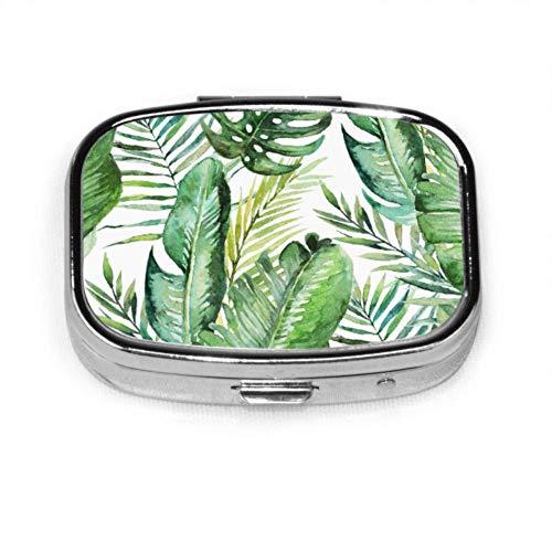 Tropische Palmblätter Dschungelblätter Nahtlose Pillenhülle Benutzerdefinierte Pillenhülle für Frauen Tablettenhalter Brieftasche Organizer-Hülle für Tasche oder Geldbörse