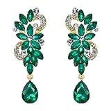 BriLove Wedding Bridal Dangle Earrings for Women Bohemian Boho Crystal Flower Chandelier Teardrop Bling Earrings Emerald Color Gold-Toned