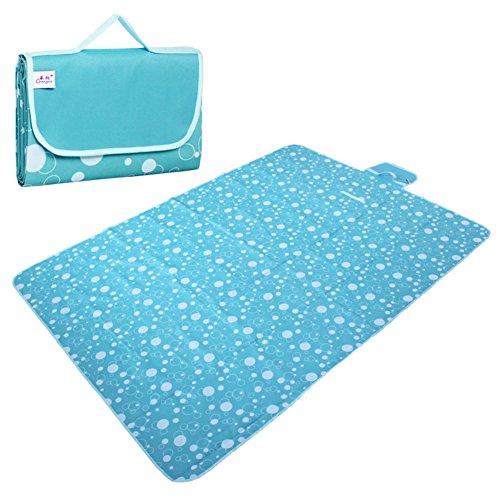 HM&DX Outdoor Wasserdicht Picknickdecken Handtaschen,Oxford Water Resistant Dual Layer Faltbar Größe Picknickdecke campingdecke Sand-Nachweis Stranddecke-blau 150x150cm(59x59inch)