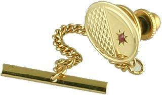 Select Gifts Gold Tie Tack 9 ct Oval gedreht mit Ottomotor mit Einfügung Ruby